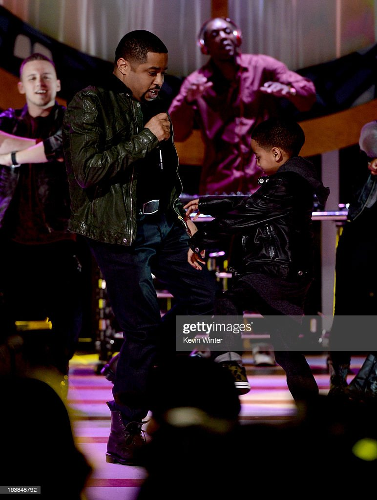 Singer Smokie Norful and son Ashton Norful perform onstage during the BET Celebration of Gospel 2013 at Orpheum Theatre on March 16, 2013 in Los Angeles, California.