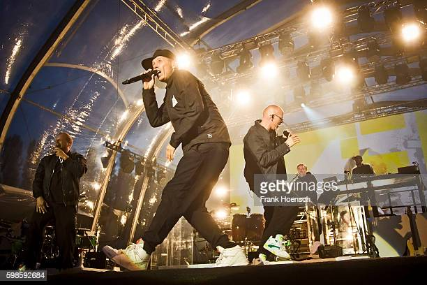 Singer Smudo Michi Beck Thomas D and AndYpsilon of the German band Die Fantastischen Vier performs live during a concert at the IFA Sommergarten on...