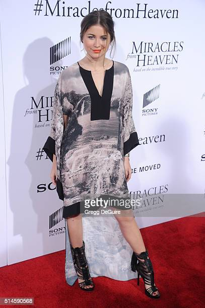 Singer Sofia Reyes arrives at the premiere of Columbia Pictures' 'Miracles From Heaven' at ArcLight Hollywood on March 9 2016 in Hollywood California