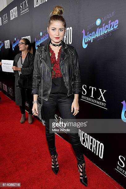 Singer Sofia Reyes attends the screening of STX Entertainment's 'Desierto' at Regal LA Live Stadium 14 on October 11 2016 in Los Angeles California