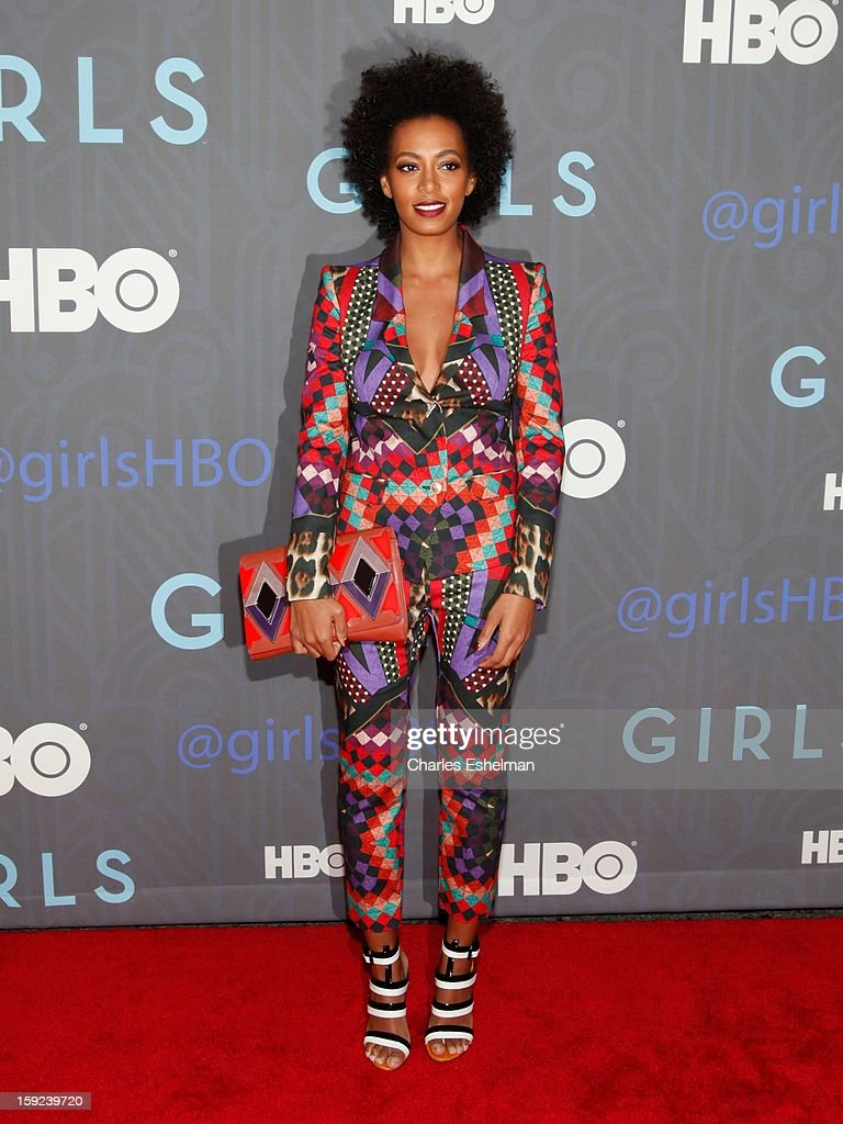 Singer <a gi-track='captionPersonalityLinkClicked' href=/galleries/search?phrase=Solange+Knowles&family=editorial&specificpeople=221489 ng-click='$event.stopPropagation()'>Solange Knowles</a> attends HBO hosts the premiere of 'Girls' Season 2 at the NYU Skirball Center on January 9, 2013 in New York City.