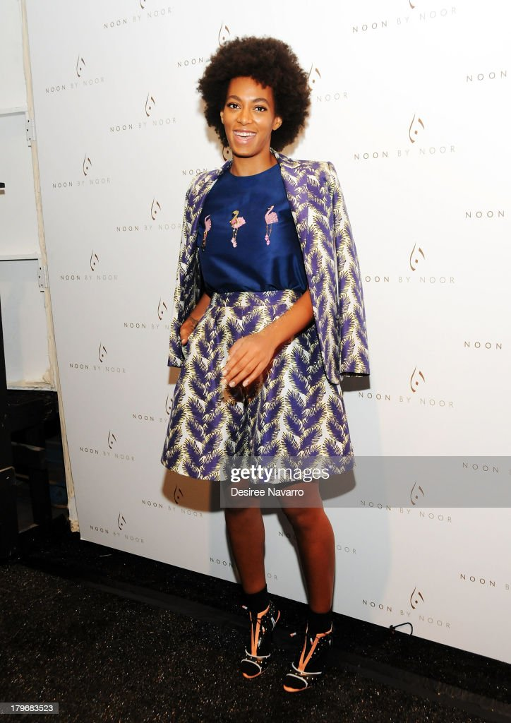 Singer <a gi-track='captionPersonalityLinkClicked' href=/galleries/search?phrase=Solange+Knowles&family=editorial&specificpeople=221489 ng-click='$event.stopPropagation()'>Solange Knowles</a> attends the Noon By Noor show during Spring 2014 Mercedes-Benz Fashion Week at The Studio at Lincoln Center on September 6, 2013 in New York City.