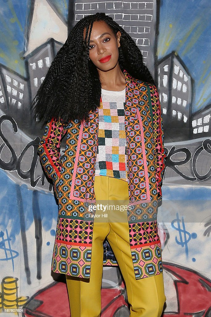 Singer <a gi-track='captionPersonalityLinkClicked' href=/galleries/search?phrase=Solange+Knowles&family=editorial&specificpeople=221489 ng-click='$event.stopPropagation()'>Solange Knowles</a> celebrates the release of her 'Saint Heron' compilation album outside Opening Ceremony in Soho on November 10, 2013 in New York City.