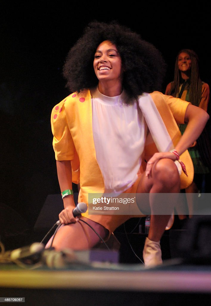 Singer Solange Knowles performs onstage during day 2 of the 2014 Coachella Valley Music & Arts Festival at the Empire Polo Club on April 19, 2014 in Indio, California.