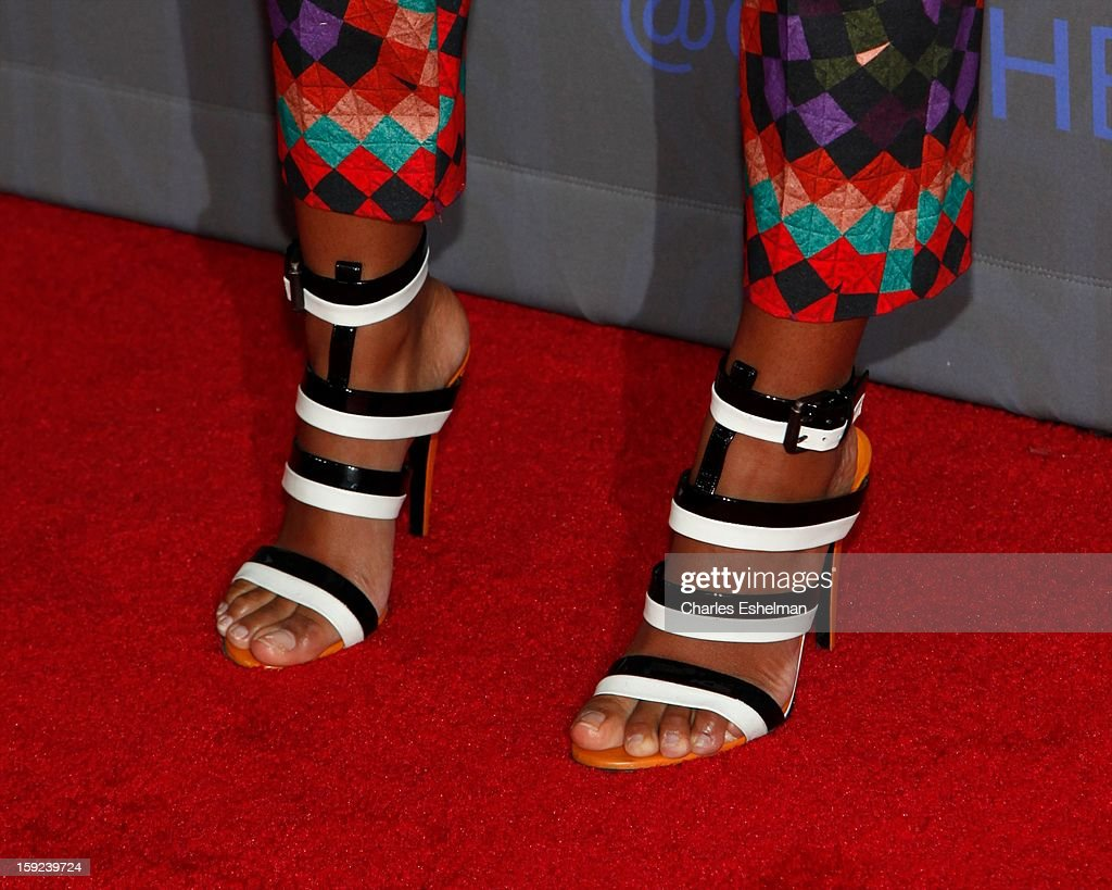 Singer <a gi-track='captionPersonalityLinkClicked' href=/galleries/search?phrase=Solange+Knowles&family=editorial&specificpeople=221489 ng-click='$event.stopPropagation()'>Solange Knowles</a>' shoes at HBO hosts the premiere of 'Girls' Season 2 at the NYU Skirball Center on January 9, 2013 in New York City.