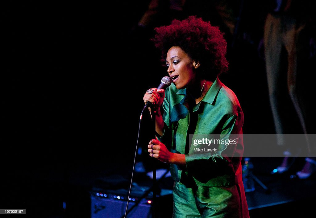 Singer Solange performs during the 2013 Crossing Brooklyn Ferry Festival at Brooklyn Academy of Music on April 26 2013 in the Brooklyn borough of New...