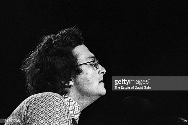 Singer songwriter and composer Randy Newman performs in February 1973 for ABCTV's In Concert series filmed at the Bananafish Theater in Brooklyn New...