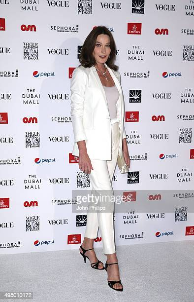 Singer Songwriter and former model Carla Bruni attends the Gala event during the Vogue Fashion Dubai Experience 2015 at Armani Hotel Dubai on October...