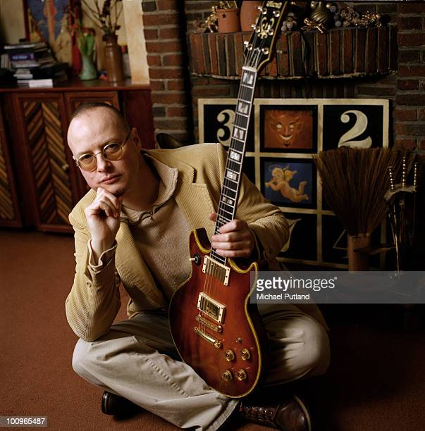 Singer songwriter and guitarist Andy Partridge of English pop group XTC at home 2000