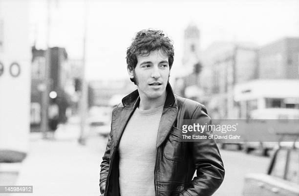 Singer songwriter and performer Bruce Springsteen poses for a portrait on October 17 1979 in Red Bank New Jersey
