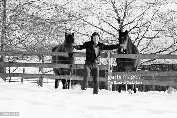 Singer songwriter and performer Bruce Springsteen poses for an out of doors portrait on January 15 1977 near his home in Holmdel New Jersey