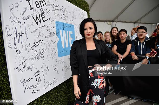 Singer songwriter and philanthropist Demi Lovato walks the WE Carpet at WE Day California 2016 at The Forum on April 7 2016 in Inglewood California