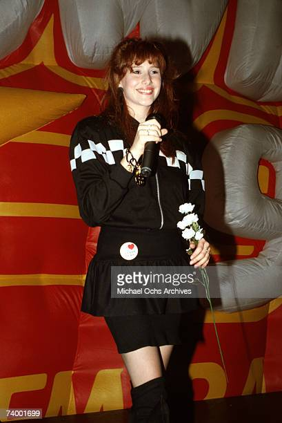 Singer songwriter and teen idol Tiffany performs during 'The Beautiful You Celebrating The Good Life Shopping Mall Tour '87' in 1987