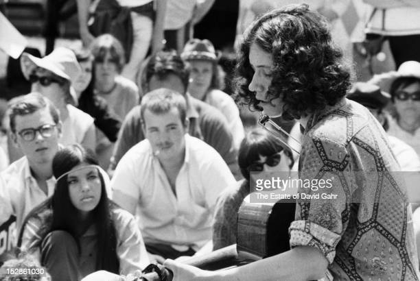 Singer songwriter Arlo Guthrie performs at an afternoon songwriting workshop at the Newport Folk Festival in July 1968 in Newport Rhode Island