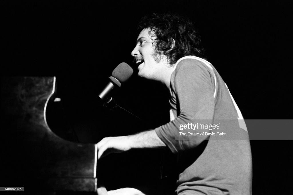 Singer songwriter Billy Joel performs in April 1972 at Mar y Sol The Puerto Rico International Pop Festival in Vega Baja Puerto Rico Photo by David...
