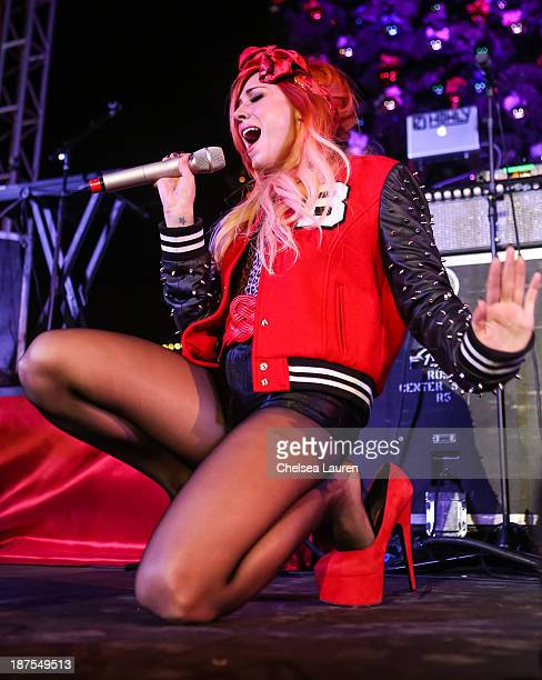 Singer / songwriter Bonnie McKee performs at the 12th annual Christmas tree lighting ceremony and free holiday concert at Citadel Outlets on November...