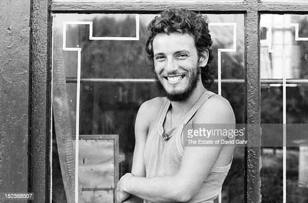 Singer songwriter Bruce Springsteen poses for a portrait at the Jersey Shore in August 1973 in New Jersey