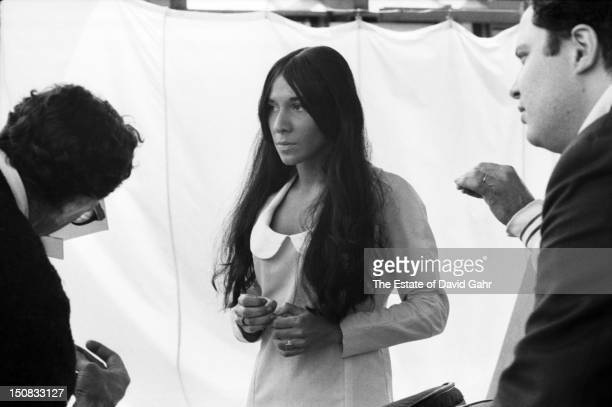 Singer songwriter Buffy SainteMarie poses for a portrait backstage before a performance at the Newport Folk Festival in July 1966 in Newport Rhode...