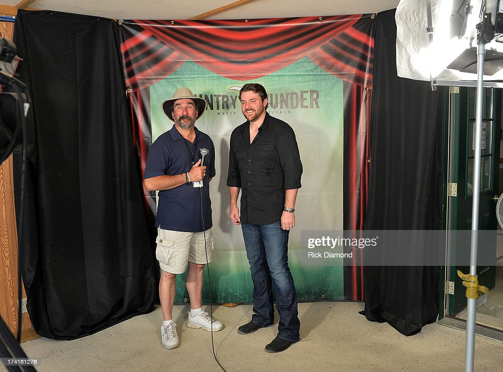 Singer Songwriter Chris Young (right) backstage at Country Thunder - Twin Lakes, Wisconsin - Day 3 on July 20, 2013 in Twin Lakes, Wisconsin.