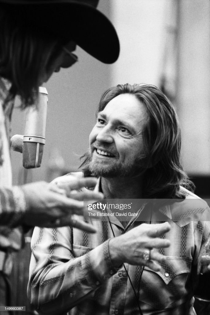 Singer songwriter Doug Sahm and country singer songwriter Willie Nelson in a recording session for Willie Nelson in February 1973 at the Atlantic Records studio in New York City, New York.