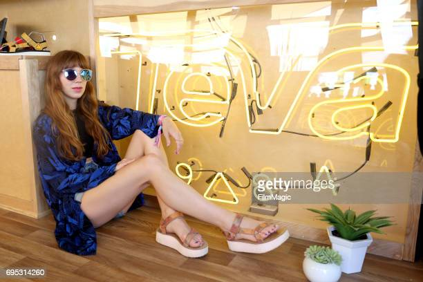 Singer songwriter Ella Vos stops by Teva Outpost Bus at Bonnaroo Music and Arts Festival on Sunday June 11 on June 11 2017 in Manchester Tennessee