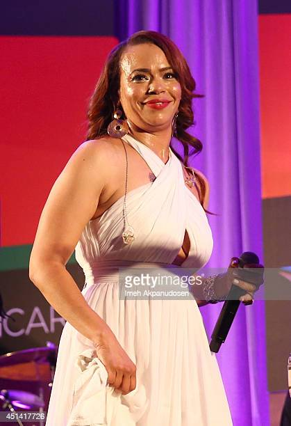 Singer/ songwriter Faith Evans performs onstage during the Acoustically Speaking event during the 2014 BET Experience At LA LIVE on June 28 2014 in...
