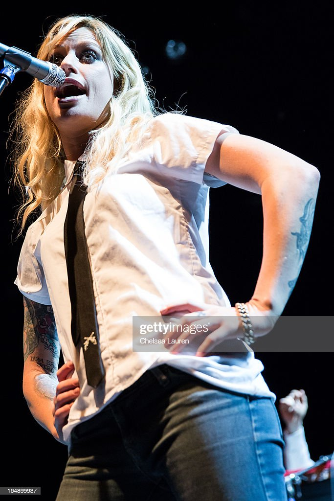 Singer / songwriter <a gi-track='captionPersonalityLinkClicked' href=/galleries/search?phrase=Gin+Wigmore&family=editorial&specificpeople=5447633 ng-click='$event.stopPropagation()'>Gin Wigmore</a> performs at the Vans Warped Tour press conference and kick-off party at Club Nokia on March 28, 2013 in Los Angeles, California.