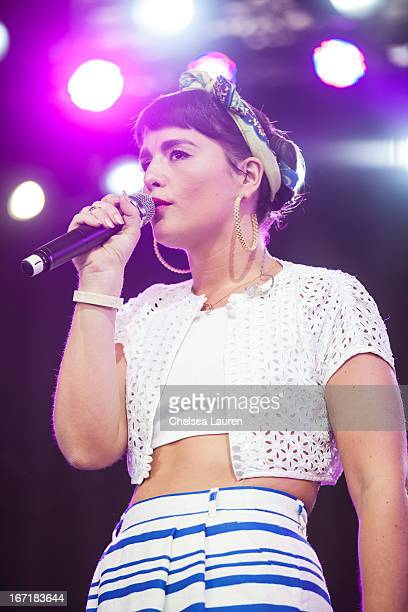 Singer / songwriter Jessie Ware performs during the Coachella Valley Music Arts Festival at The Empire Polo Club on April 21 2013 in Indio California