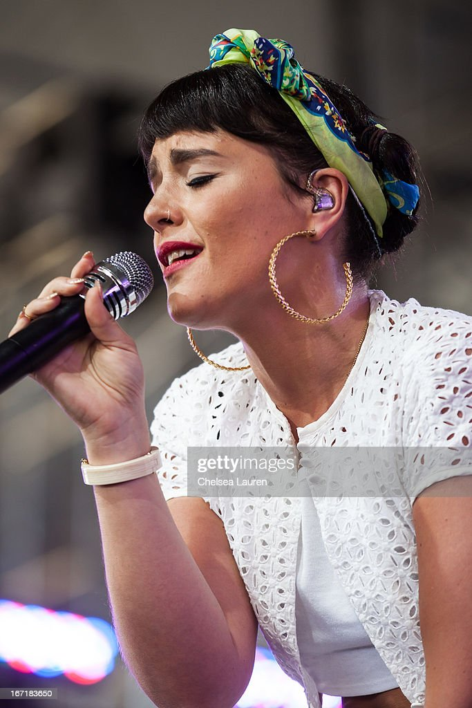 Singer / songwriter Jessie Ware performs during the Coachella Valley Music & Arts Festival at The Empire Polo Club on April 21, 2013 in Indio, California.