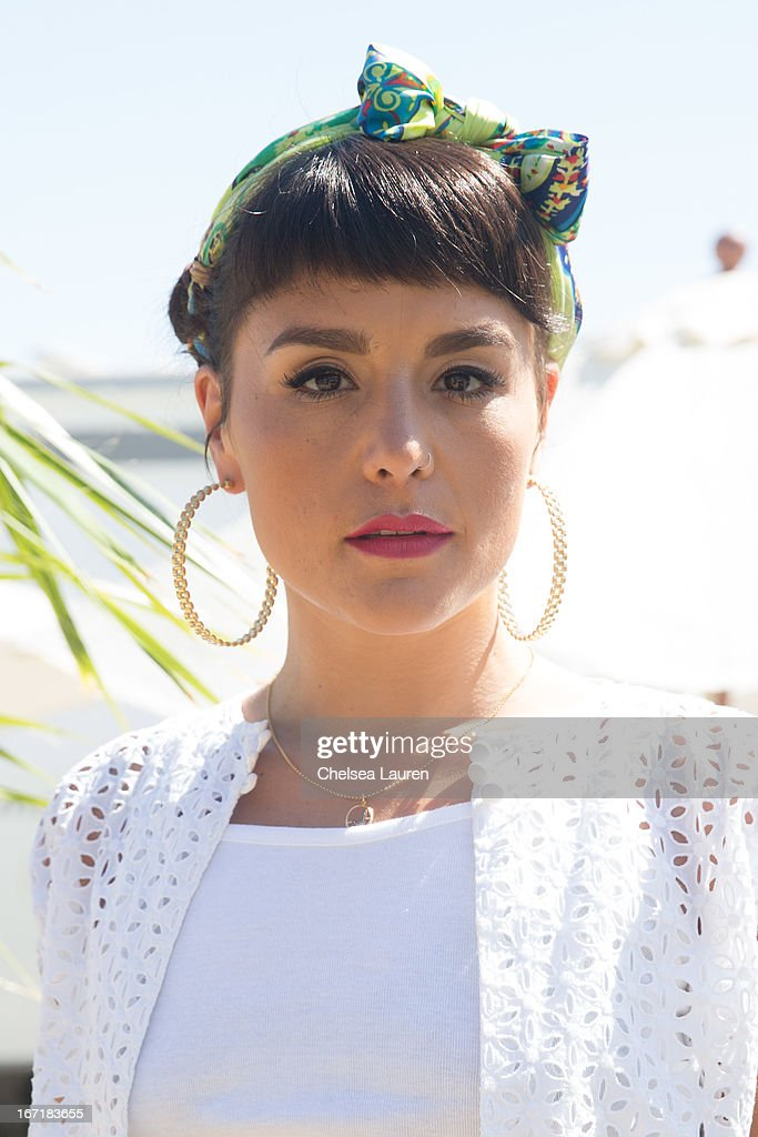 Singer / songwriter Jessie Ware poses backstage during the Coachella Valley Music & Arts Festival at The Empire Polo Club on April 21, 2013 in Indio, California.