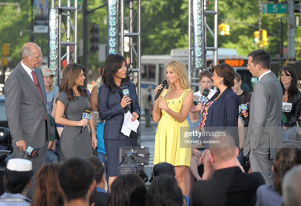 Singer songwriter Jewel (3rd R) talks with CBS co-anchor Harry Smith (L), News Correspondent Betty Nguyen (2nd L), and co- anchors Julie Chen (3rd L), Maggie Rodriguez (2nd R) and weather anchor Dave Price on CBS' The Early Show Summer Concert Series at the CBS Early Show Studio Plaza on May 25, 2010 in New York City.