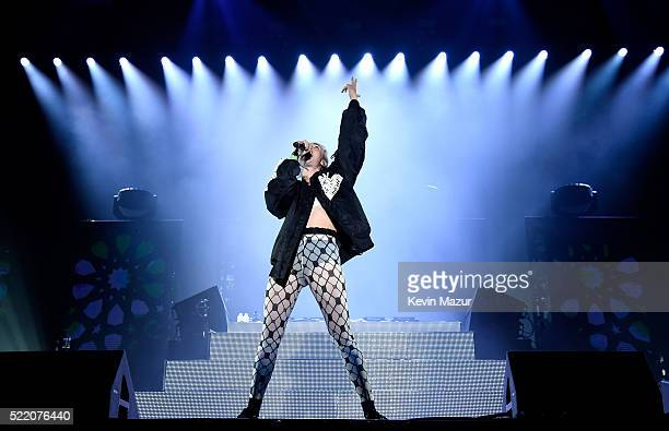 Singer songwriter Karen Marie aka MØ performs onstage with Major Lazer during day 3 of the 2016 Coachella Valley Music And Arts Festival Weekend 1 at...