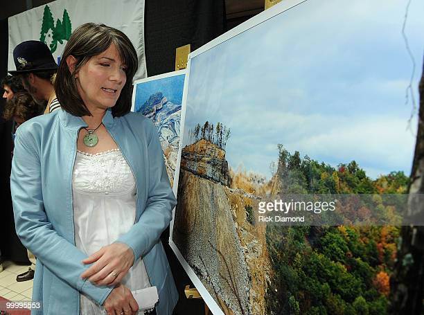 Singer Songwriter Kathy Mattea during the' Music Saves Mountains' benefit concert press conference at the Ryman Auditorium on May 19 2010 in...