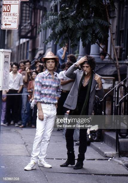 Singer songwriter Mick Jagger and guitarist and singer songwriter Keith Richards of The Rolling Stones pose for a portrait together during the...