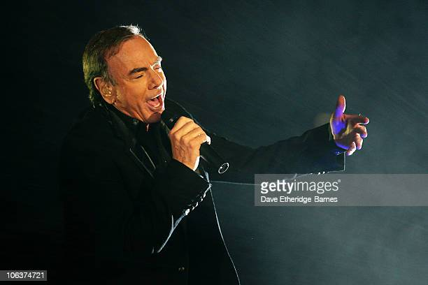 Singer songwriter Neil Diamond performs on stage during the closing night of the BBC Radio 2 Electric Proms 2010 at The Roundhouse on October 30 2010...
