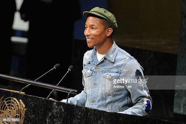 Singer songwriter Pharrell Williams speaks on stage during the United Nations International Day of Happiness 2015 at United Nations General Assembly...