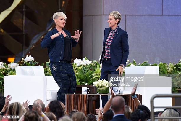 Singer/ Songwriter Pink and TV show host Ellen Degeneres appear at 'The Ellen Degeneres Show' Season 13 BiCoastal Premiere at Rockefeller Center on...