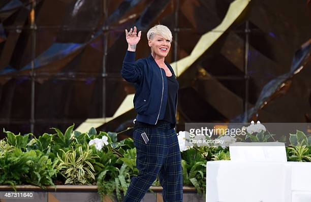 Singer/ Songwriter Pink appears at 'The Ellen Degeneres Show' Season 13 BiCoastal Premiere at Rockefeller Center on September 8 2015 in New York City