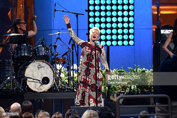 Singer/ Songwriter Pink performs at 'The Ellen Degeneres Show' season 13 bicoastal premiere at Rockefeller Center on September 8 2015 in New York City