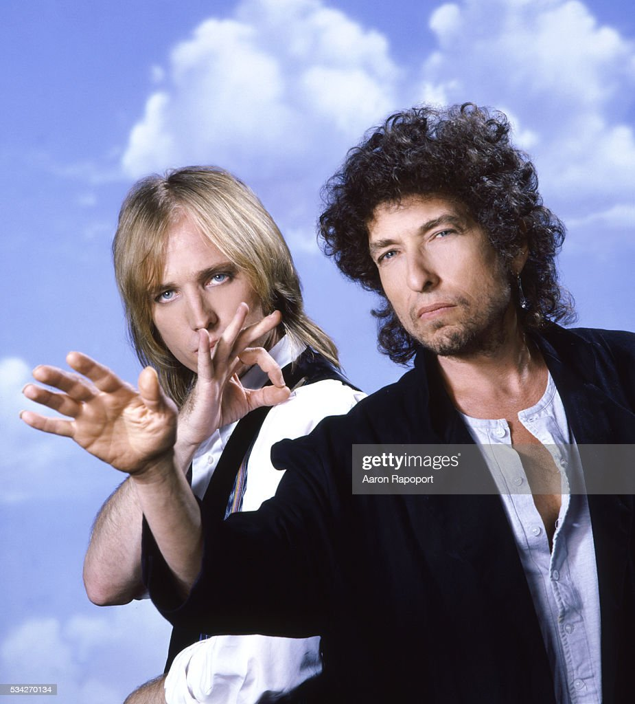 Singer songwriter Tom Petty and poet-songwriter and legend Bob Dylan pose for a Rolling Stone Magazine cover in Los Angeles, California in 1986.