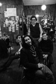 Singer songwriters and musicians Stefan Grossman Steve Noonan Tuli Kupferberg and Jackson Brown pose for a portrait in February 1969 at Izzy Young's...