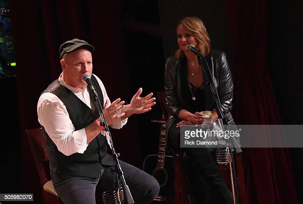 Singer songwriters Collin Raye Miranda Lambert perform onstage during Roadside Bars and Pink Guitars Unplugged at City Winery Nashville on January 20...