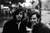 Singer songwriters Jackson Browne and Steve Noonan pose for a portrait in February 1967 in Greenwich Village New York City New York