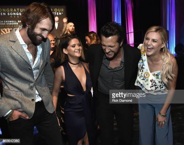 Singer Songwriters Ryan Hurd Maren Morris Luke Bryan and Kelsea Ballerini attend the 2017 Nashville Songwriters Hall Of Fame Awards at Music City...