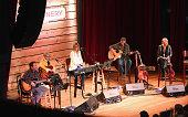 Singer songwriters Shane McAnallyAshley Monroe Nicolle Galyon guitarist Scotty Wray singer songwriter Miranda Lambert perform onstage during Roadside...