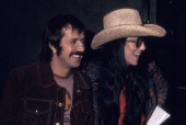 Singer Sonny Bono and singer Cher on January 18 1972 arrive for taping of 'The Sonny Cher Comedy Hour' at CBS Television City in Los Angeles...