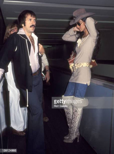 LOS ANGELES JUNE 12 Singer Sonny Bono and singer Cher on June 12 1977 arrive at the Los Angeles International Airport in Los Angeles California