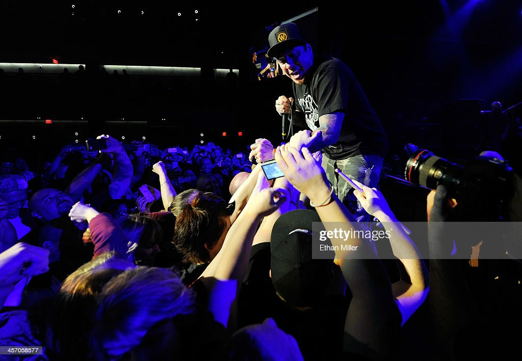 Singer <a gi-track='captionPersonalityLinkClicked' href=/galleries/search?phrase=Sonny+Sandoval&family=editorial&specificpeople=228322 ng-click='$event.stopPropagation()'>Sonny Sandoval</a> of P.O.D. leans into the crowd as he performs during KOMP'S Totally Politically Correct Holiday Bash at The Joint inside the Hard Rock Hotel & Casino on December 15, 2013 in Las Vegas, Nevada.