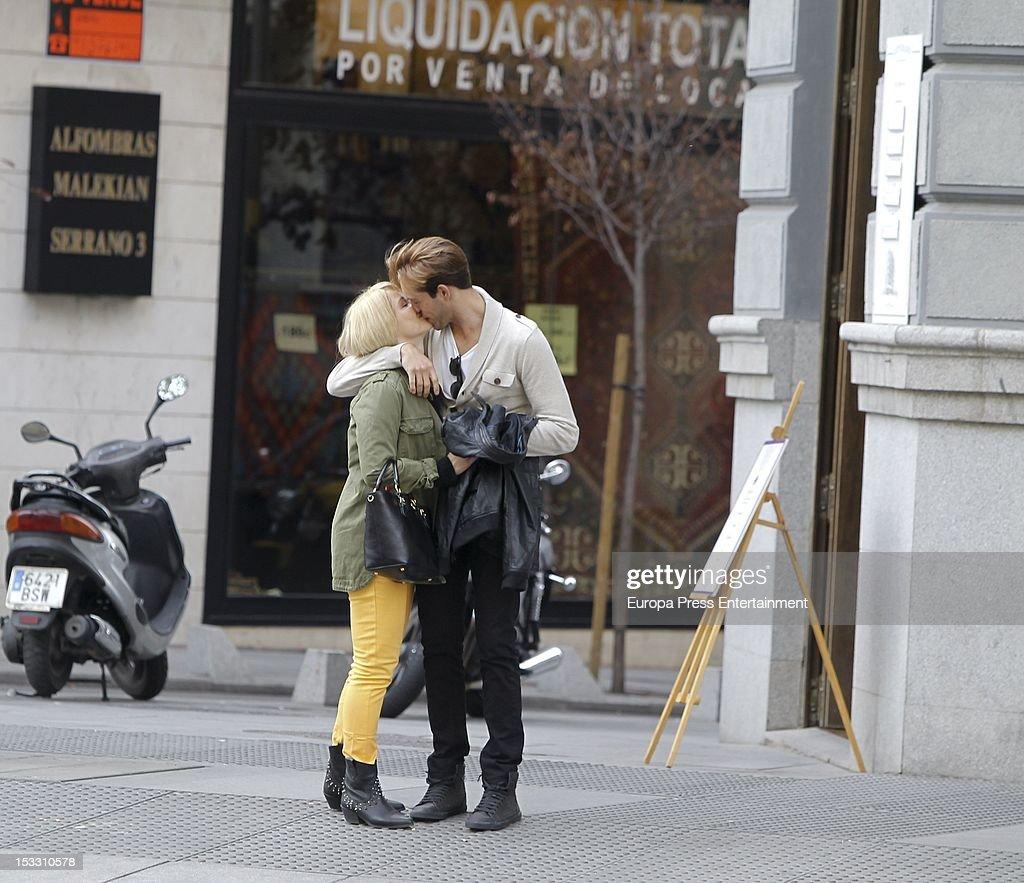 Singer Soraya Arnelas and ex Mister Cadiz Miguel Herrera are seen kissing each other on October 2 2012 in Madrid Spain