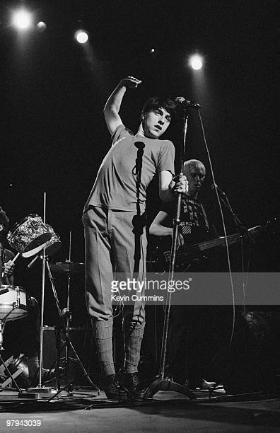 Singer Spizz of Spizzenergi performs on stage at the Odeon in Birmingham England on September 19 1979